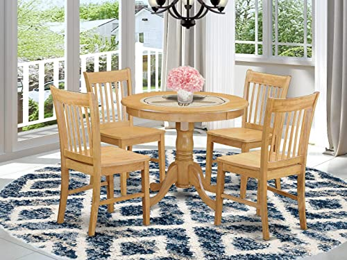 ANNO5-OAK-W 5 PC Dinette Table set – Dining Table for small spaces and 4 Dining room chair
