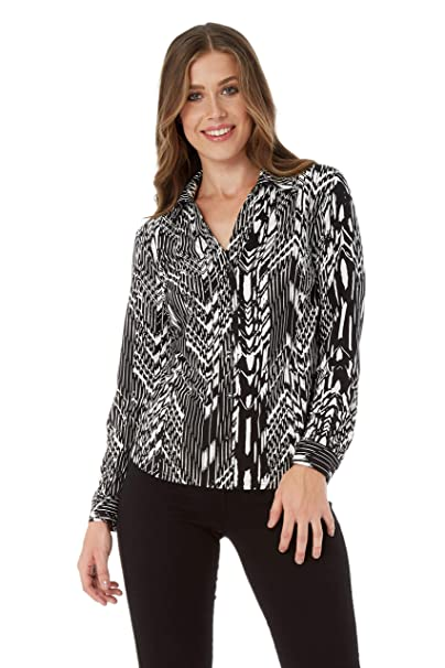 9bc7f7ec Roman Originals Women's Pleated Long Sleeved V-Neckline Monochrome Shirt  Blouse - Ladies Fashion Shirt for Work Formal Business Party Occasions Tops  Shirts ...