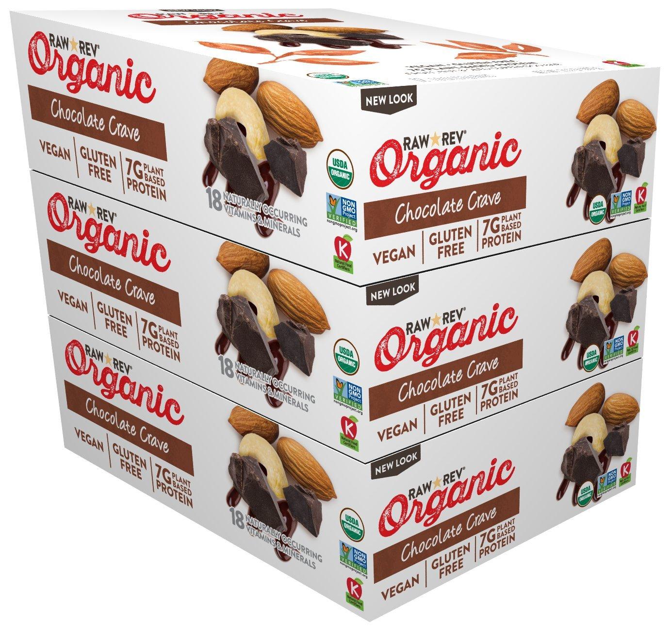 Raw Rev Organic Vegan, Gluten-Free Fruit, Nut, Seed Bars - Chocolate Crave 1.8 ounce (Pack of 36)