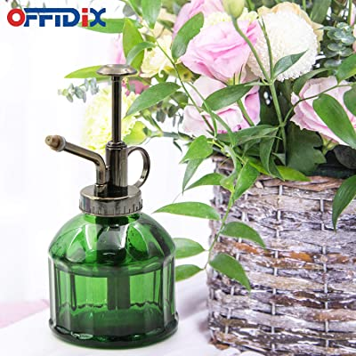 Outdoor Garden Cleaning OFFIDIX Glass Plant Mister Blue Glass Spray Watering Cans Vintage Style Spritzer with Bronze Plastic Top Pump One Hand Watering Can for Indoor Potted Plant