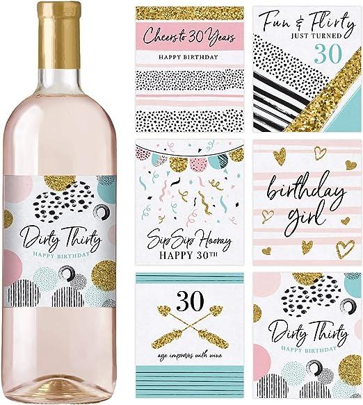 Amazon.com: Etiquetas para botellas de vino de 30 cumpleaños ...