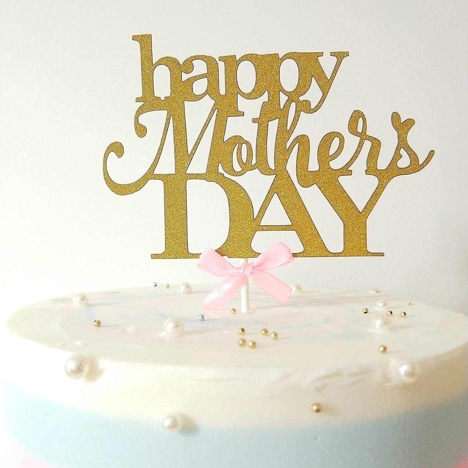 Gold Glitter Happy Mother's Day Cake Topper Handcrafted Party Decor Party Supplies Set of 2