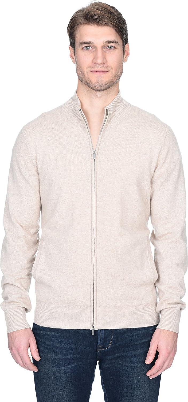 State Fusio Men's Full Zip Up Cardigan Cashmere Merino Wool Mock Neck Long Sleeve Sweater
