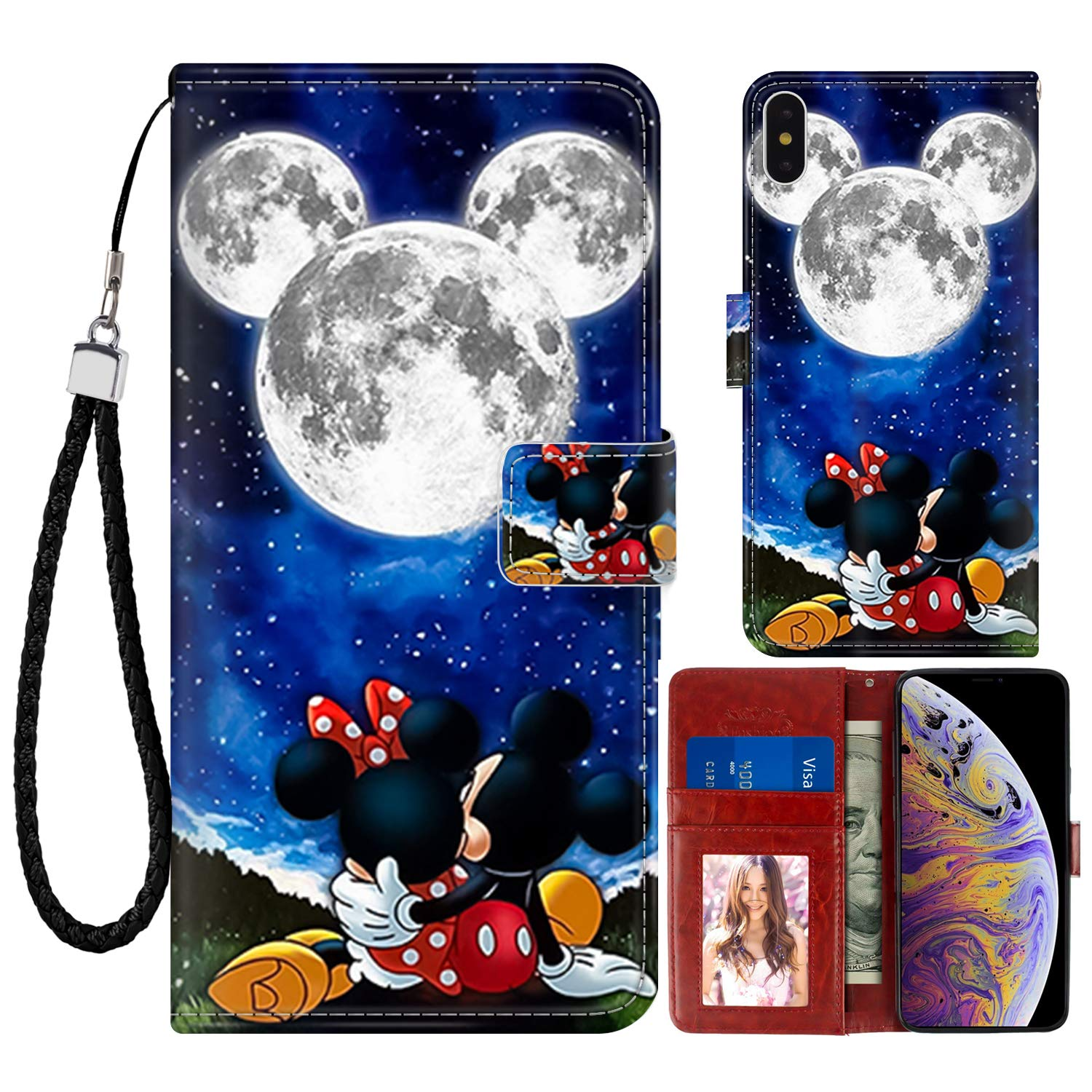 """DISNEY COLLECTION Wallet Case for iPhone Xs Max 6.5"""" Mickey and Minnie are Dating Pattern Design Magnetic Closure [Stand Feature] Folio Flip Cover with Card Holder and Wrist Strap Protective Cover"""