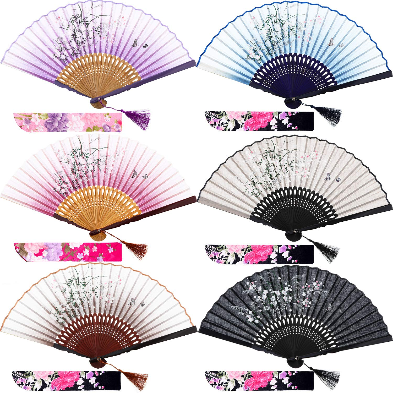 meekoo 6 Pieces Silk Folding Fans Bamboo Hand Held Grassflowers Chinese/Japanese Fan with 6 Fabric Sleeves for Protection, Gift for Women and Girls (Multicolor, 6 Pieces)