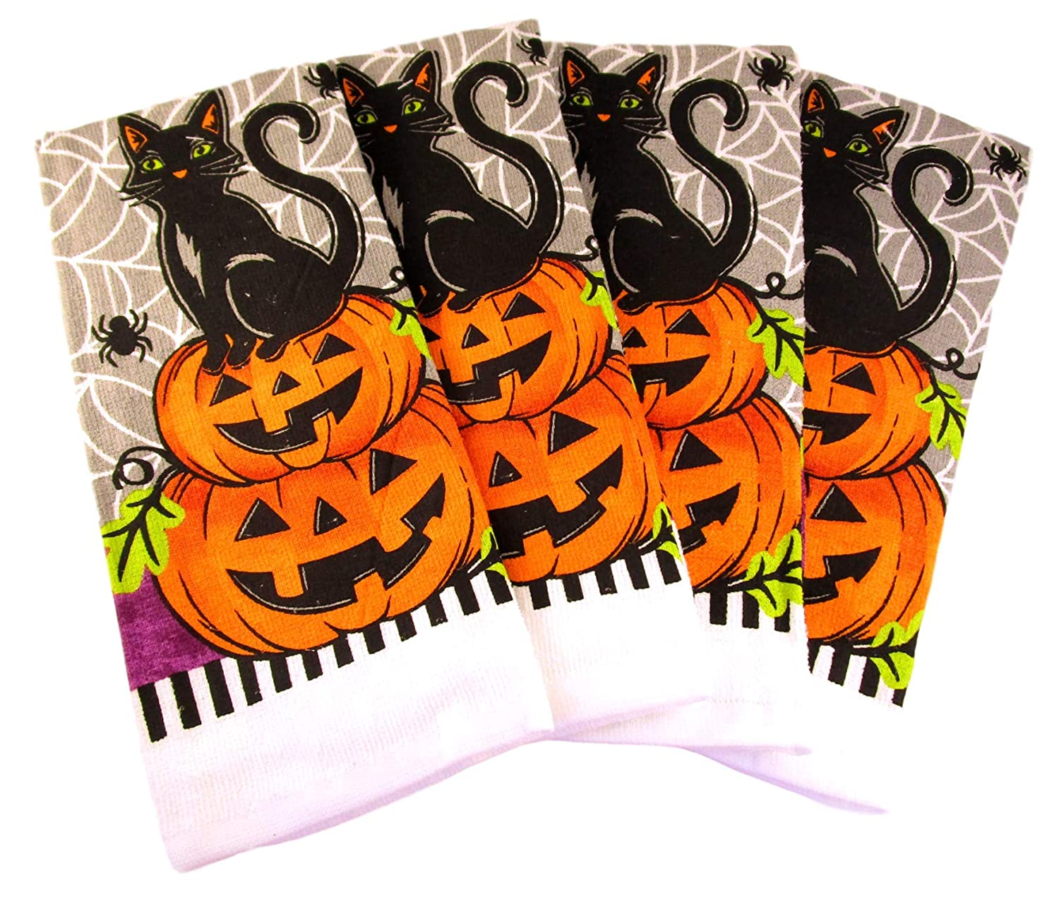 Halloween Kitchen Towels - Pack of 4 100% Cotton Dish Towels (Cat on 2 Pumpkins) Mabelle