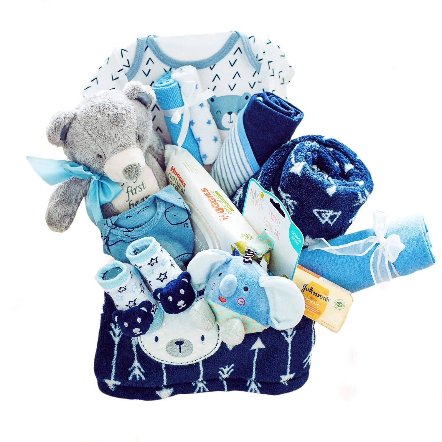Baby Gift Basket - Newborn Essentials Baby Gift Set Great for Baby Shower and Welcome Baby Home - Baby Boys Gifts