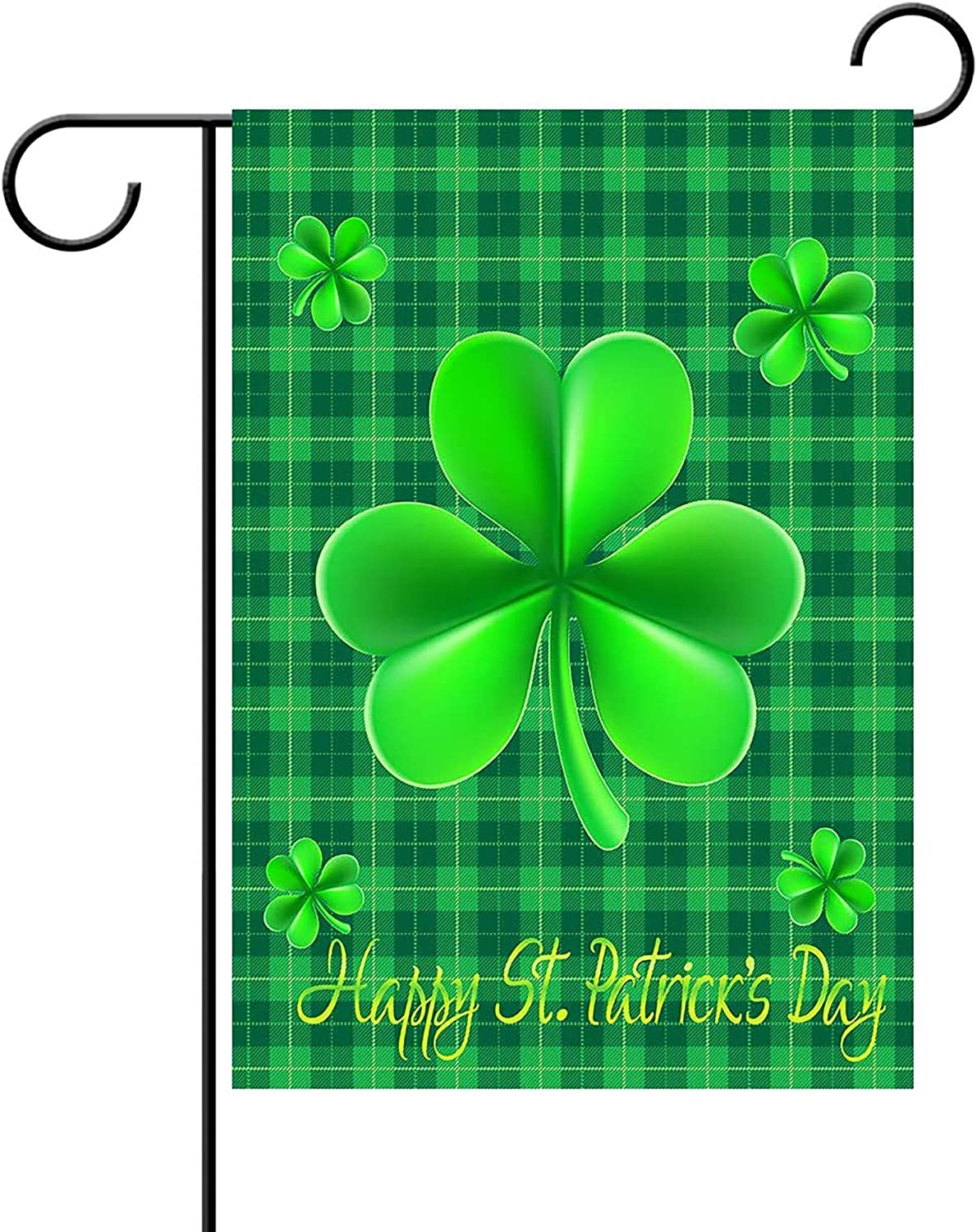 WENWELL Happy St Patricks Day House Garden Flags,Shamrock Buffalo Check Plaid Rustic Burlap Yard Sign Decorations,Spring Banners for Outdoor 12 x 18 Inch Double Sided (Green)