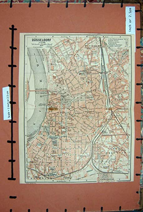 Old Original Antique Victorian Print Map 1910 Rhine Street Plan Town on
