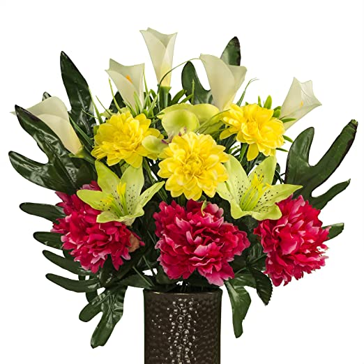 "18/"" PINK CALLA LILY SILK FLOWERS REALISTIC FLORAL ARRANGEMENT w// GLASS VASE"