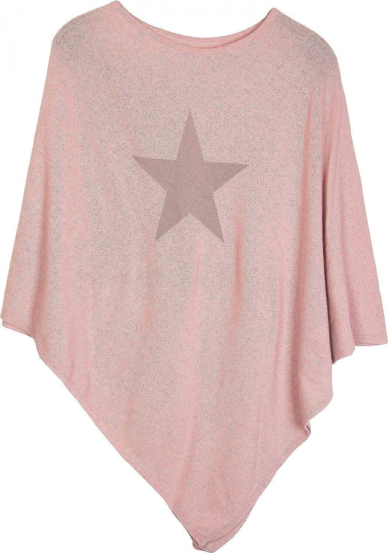 styleBREAKER Poncho Doux en Maille Fine avec Une /étoile Scintillante imprim/ée Femme 08010028 col Rond