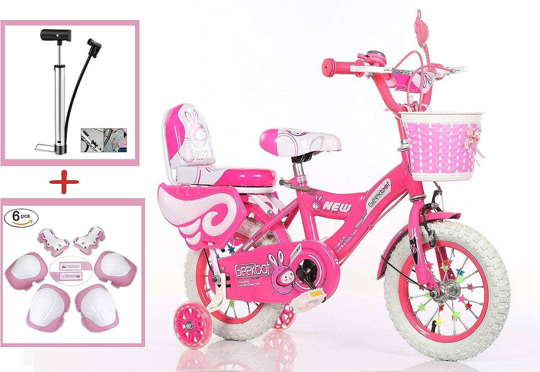 GEEKBOT Bicicleta niña 12 Pulgadas - Niña 3-6 años de Edad - Neumático Inflable - Ajuste cómodo - Pequeño cableado - Blanco Tire Princess Bike: Amazon.es: Deportes y aire libre