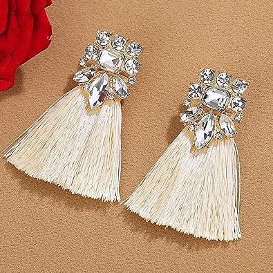 9dd8aae0a mecresh Statement Tassel Earrings Bohemian Dangle Drop Earrings for Women  Girls Thread Chandelier Crystal Earrings