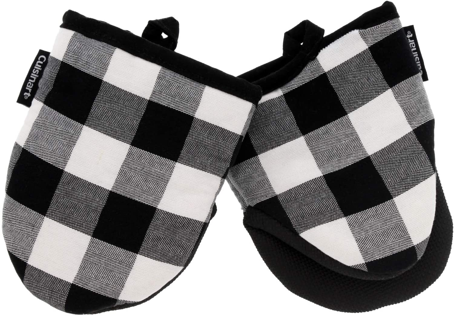 Cuisinart Neoprene Mini Oven Mitts, 2pk - Heat Resistant Oven Gloves Protect Hands and Surfaces with Non-Slip Grip and Hanging Loop-Ideal Set for Handling Hot Cookware - Buffalo Check, Jet Black