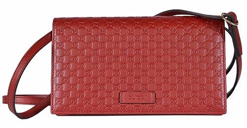 649515fc3a4 Gucci Women s Leather Micro GG Guccissima Crossbody Mini Wallet ...