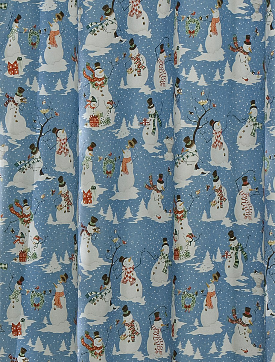 Blue Snowman Folly Fabric Shower Curtain by M.Style - Closeout Price