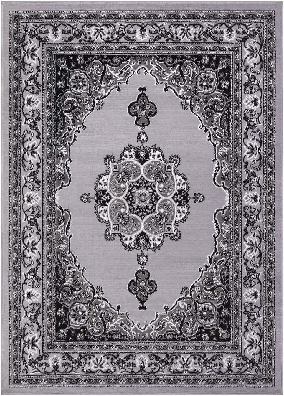 Princess Collection Oriental Medallion Area Rug, 5 2 x 7 2 , 811 Light Grey Light Grey