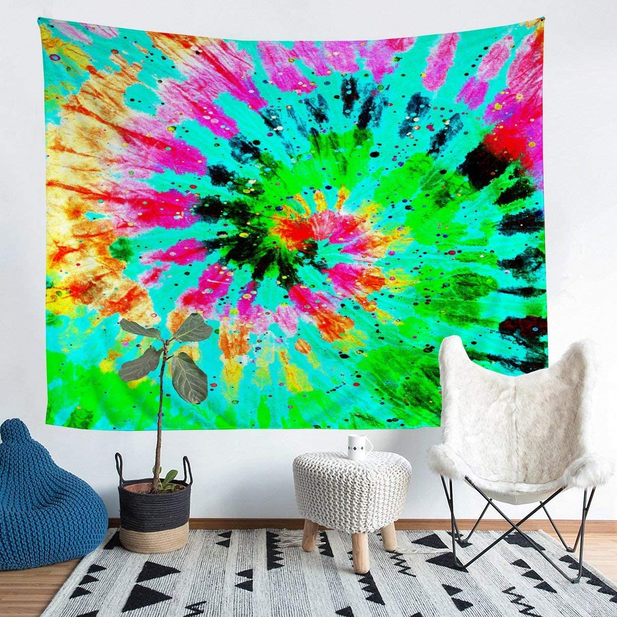 Blue Tie Dyed Tapestry,Kids Tie Dyed Wall Hangings Art,Green Yellow Spiral Psychedelic Gypsy Spiral Swirl Printed Boho Hippie Home Decor Collection Tapestries,Fashion Picnic Blanket Blck Pink,Blue