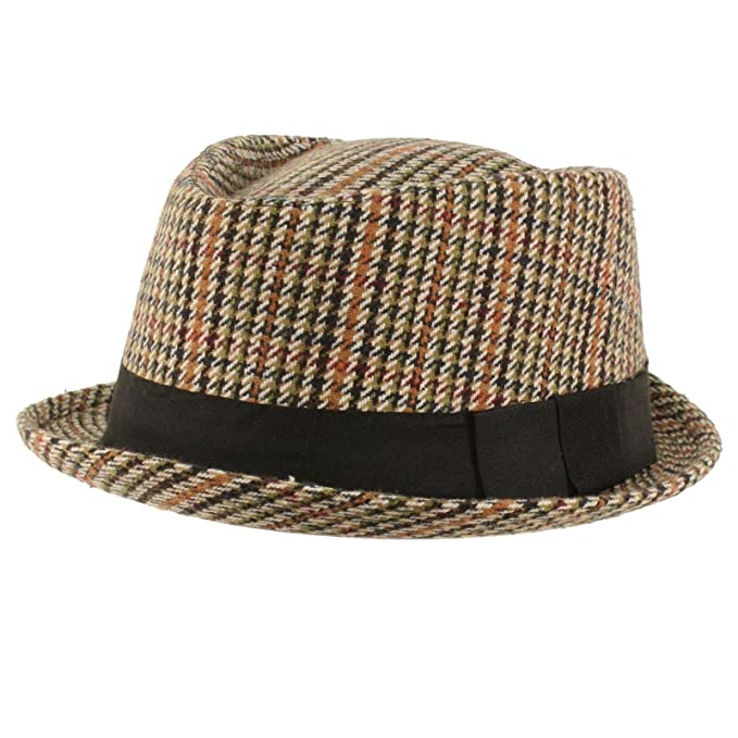ac03087f201 SK Hat shop Men s Winter Houndstooth Porkpie Derby Fedora Curled Brim Hat  Brown BK S