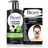 Bioré Deep Pore Charcoal Cleanser and Deep Cleansing Charcoal Pore Strip, for Oily Skin (200 mL + 8ct)