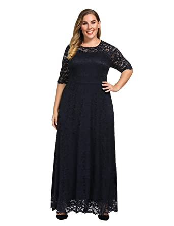 d48b8e9c2da Chicwe Women s Plus Size Stretch Lined Scalloped Lace Maxi Dress - Evening  Wedding Party Cocktail Dress