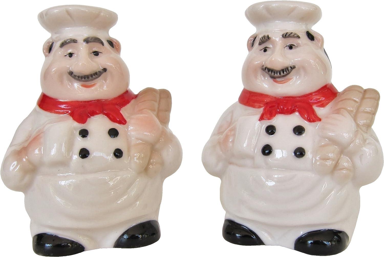 Italian Chef Salt And Pepper Shaker Set By Chef Decor Amazon Co Uk Kitchen Home