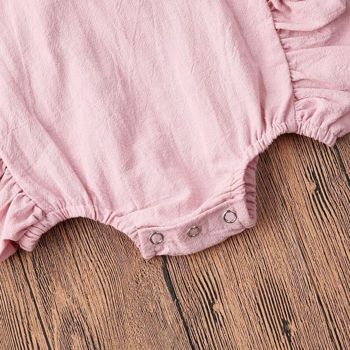 Carolilly Tutina Neonata Pagliaccetto Neonata Estivo Bimba Cotone Body Neonata Stampa Fiore con Maniche Volant 0-24 Mesi