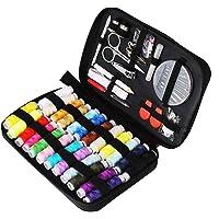 Tuxwang Kit de costura con 90 piezas Accesorios de costura premium con funda de transporte, 24 carretes de hilo - 1 paquete de agujas de coser (cuenta 30) Kit de costura de viaje