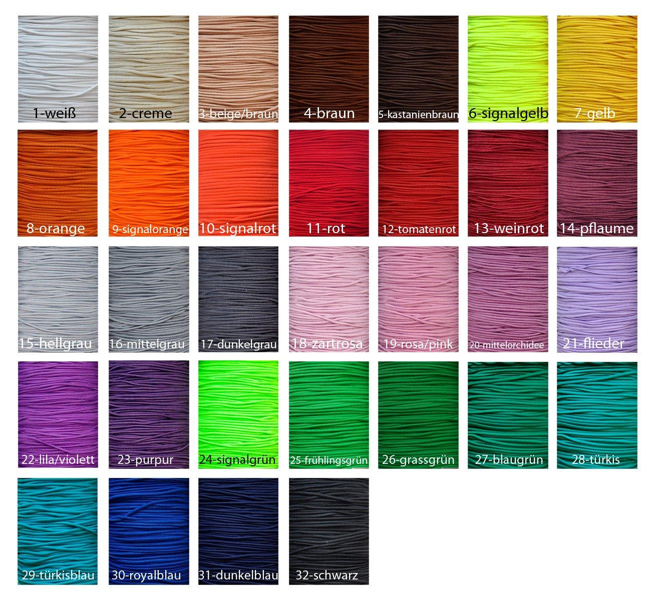 10 m Hutgummi / Gummikordel, 2,5 mm / Auswahll aus 32 Farben / Farbe ...