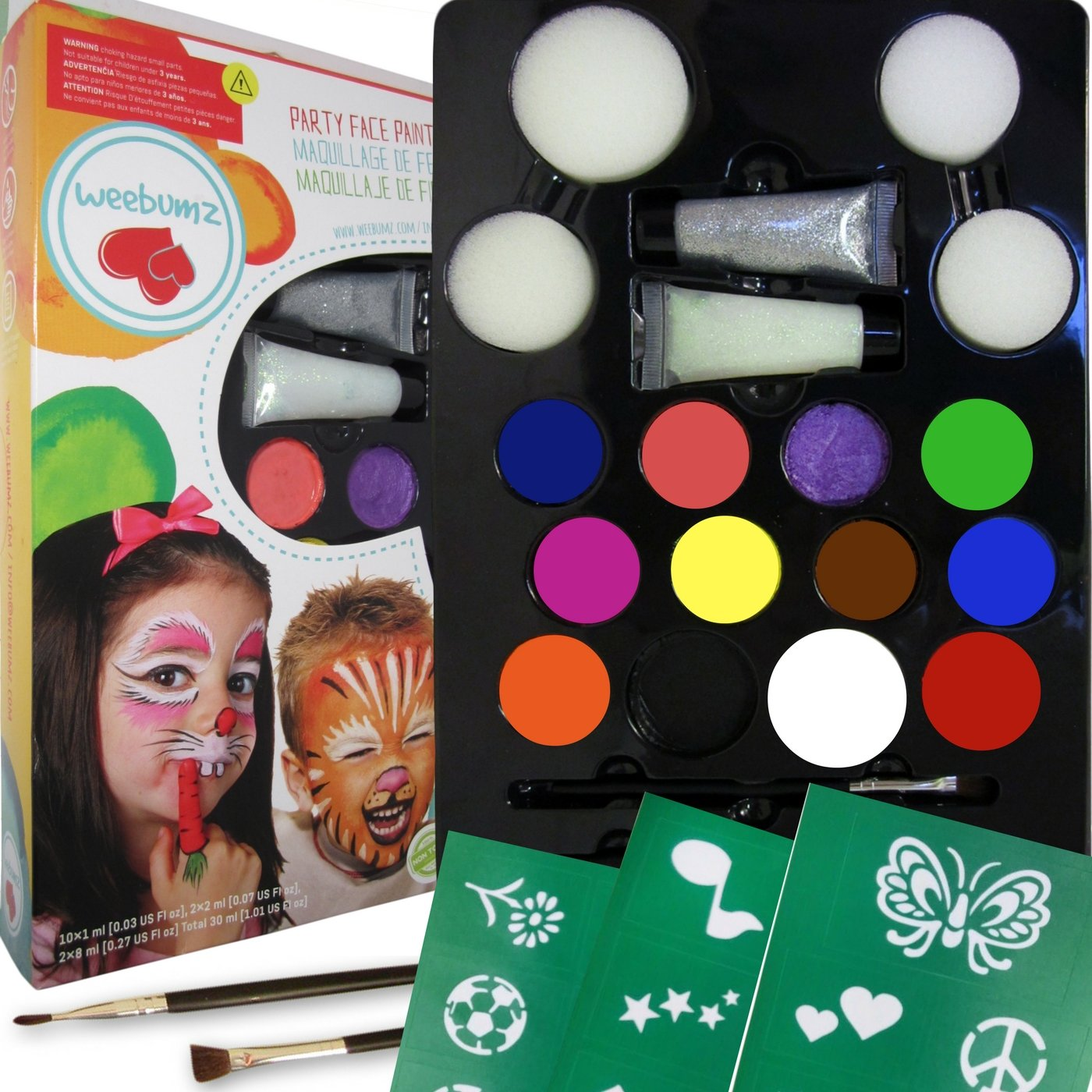 Amazon weebumz face painting top color party pack for kids amazon weebumz face painting top color party pack for kids quality body paint with stencils 4 sponges 2 glitter gels 2 brushes fandeluxe Ebook collections