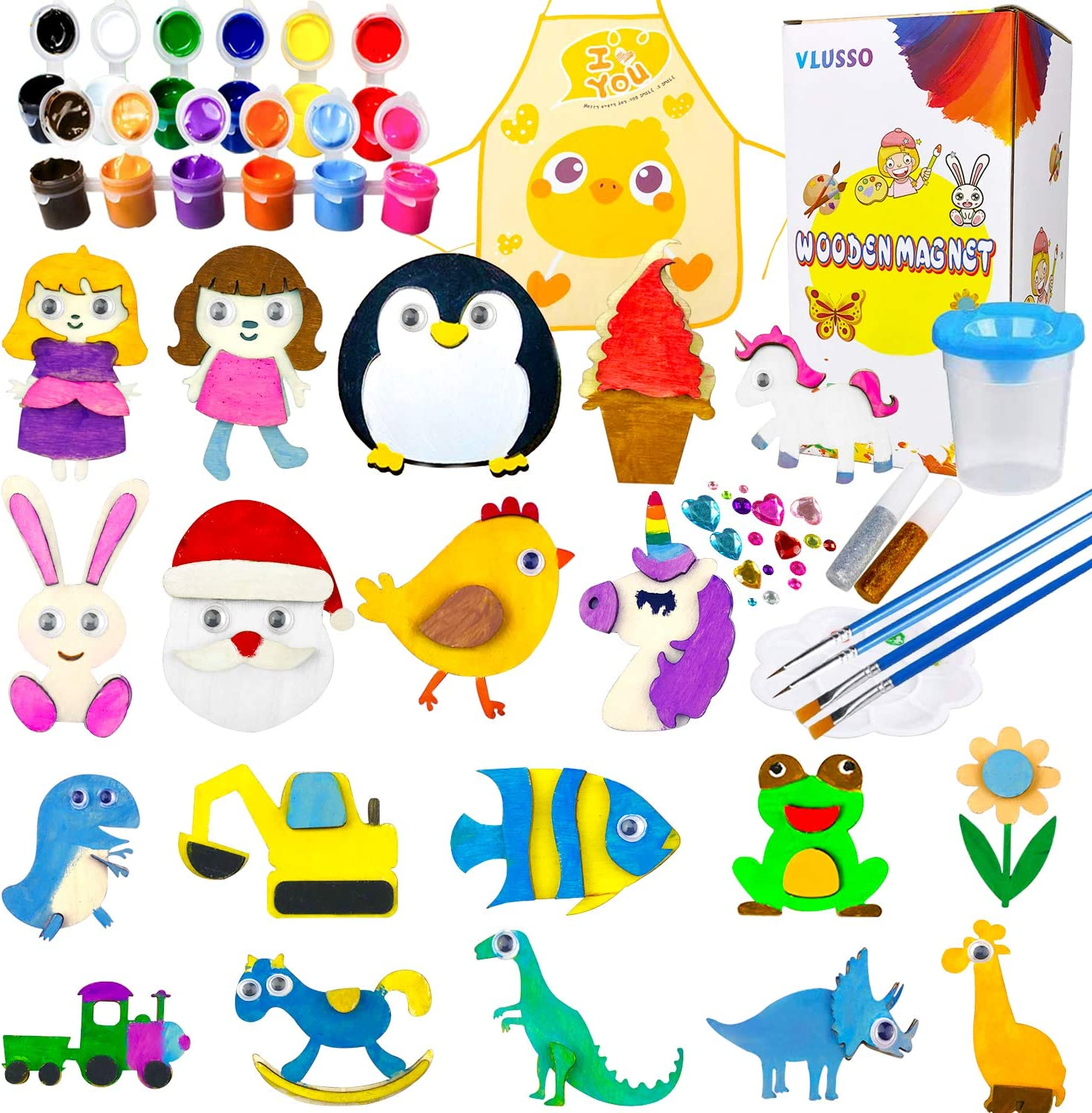 Birthday Parties and Family Crafts Holiday Stuffers 14 Christmas Wooden Magnet Creativity Arts /& Crafts Painting Kit Decorate Your Own for Kids Paint Gift