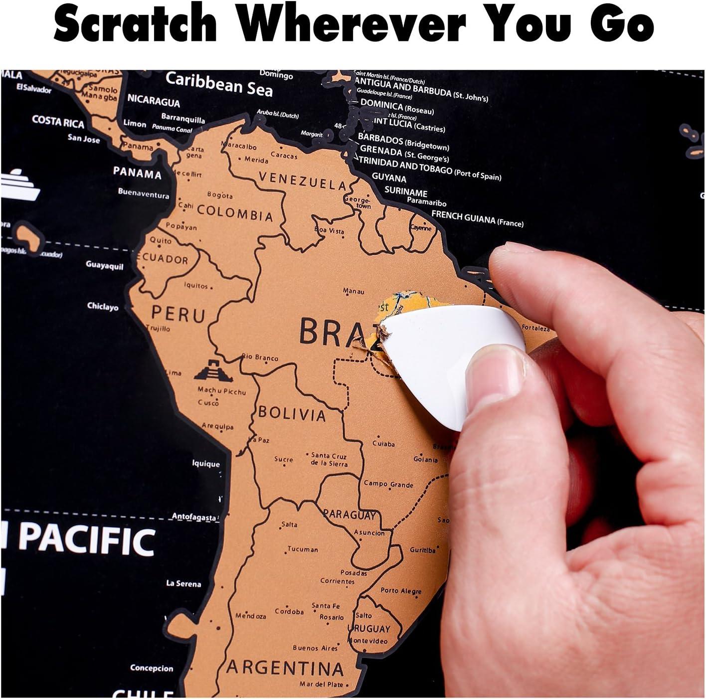 rabbitgoo Mapa del Mundo para Rascar Mapa con Las banderillas para ...