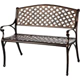 Patio Sense Cast Aluminum Patio Bench | Antique Bronze Finish | Heavy Duty Rust Free Metal Construction | Lightweight…