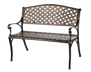 Patio Sense 61491 Aluminum Patio Bench, Antique Bronze