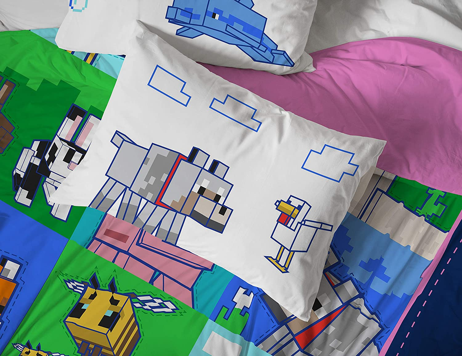 Fade Resistant Microfiber Sheets Official Minecraft Product Jay Franco Minecraft Animal Patch Queen Sheet Set 4 Piece Set Super Soft and Cozy Kid/'s Bedding