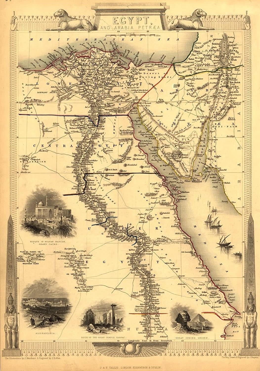 A3 Egypt & Arabia Petraea (Egyptian Map Displays Mediterranean & Dead Seas (in the North) to Lower, Central & Upper Egypt (in the South) and Arabia in the East), Reproduction Antique Map Published c1850 by J & F Tallis - A3, Size Approxima