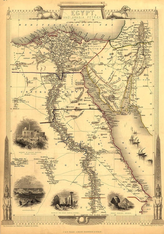 Mappa anticata dell'Egitto e dell'Arabia Petraea Mediterraneo e mar morto a nord, a parte centrale superiore e inferiore dell'Egitto a sud e l'Arabia ad est, riproduzione cartina pubblicato c1850 da J & F Tallis, formato A1, dimensioni ca. 84 x 58.5 cm