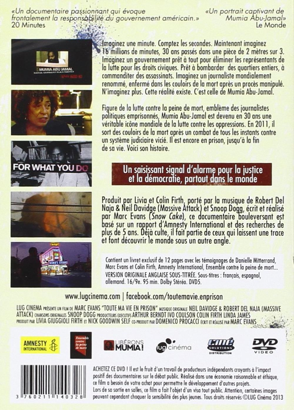 Toute ma vie (en prison) [Francia] [DVD]: Amazon.es: Mumia Abu-Jamal, Noam Chomsky, Mos Def, Snoop Dogg, Steve Earle, William Francome, Raymond Boots ...