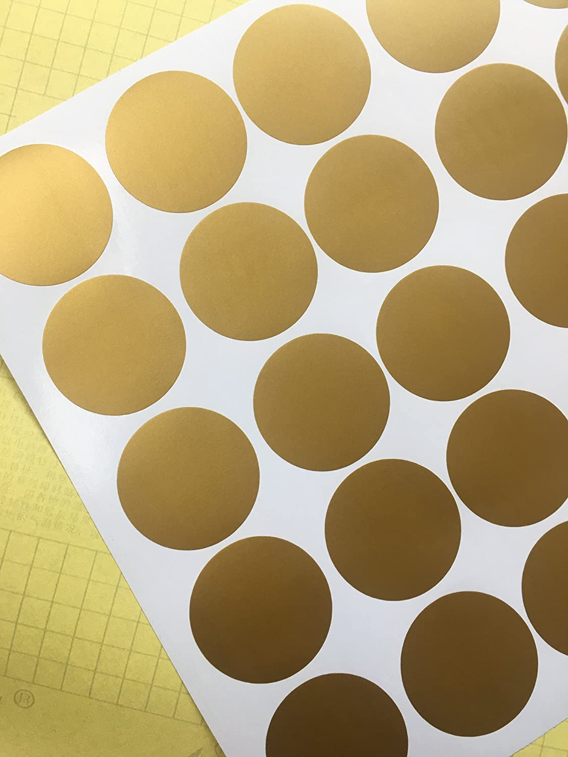 Gold Wall Decal Dots (200 Decals) Posh Dots Metallic Gold Circle Stickers Baby Nursery Kids Room Trendy Cute Fun Vinyl Removable Round Polka Dot Decals Safe for Wall Paint (Gold, 2.0inch x 200pcs)