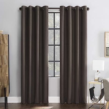 Amazon Com Scott Living Mateo Embossed Geometric 100 Blackout Grommet Curtain Panel 52 X 84 Walnut Home Kitchen
