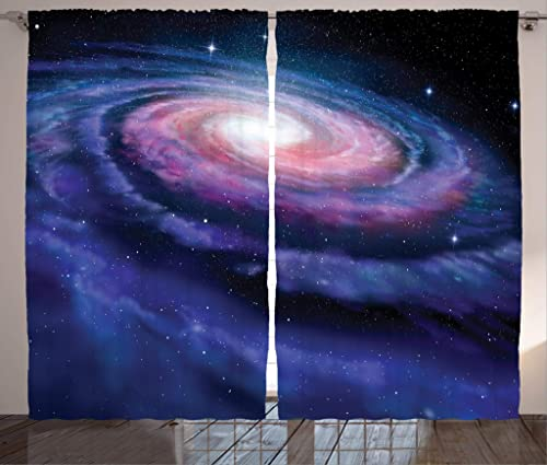 Ambesonne Outer Space Curtains, Spiral Cosmic Energy with Dark Nebula Cloud Burst Solar System Universe Image, Living Room Bedroom Window Drapes 2 Panel Set, 108 X 63 , Blue Purple