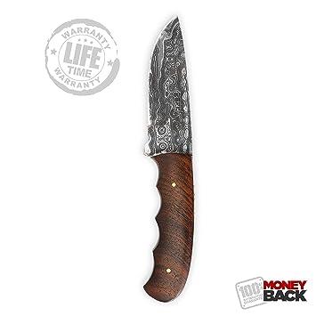 Cuchillo de caza con hoja de damasco, hecho a mano: Amazon ...