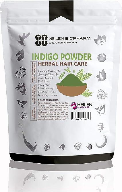 Indigo Hojas Polvo para Paquete de Pelo (Indigo Leaves Powder) – Crecimiento del cabello, tinte natural y tratamiento anticaspa (150 gm / 5.25 oz / ...