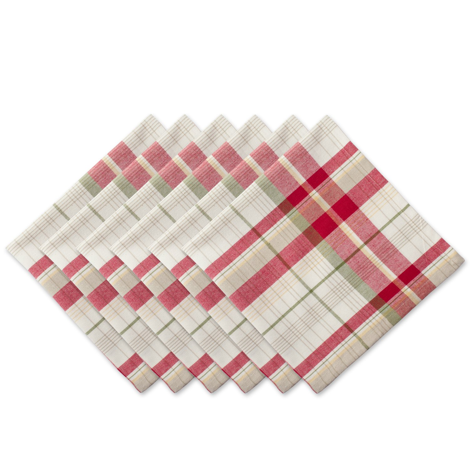 Orchard Plaid Cotton Fabric Christmas Napkins Set of 6 - ChristmasTablescapeDecor.com