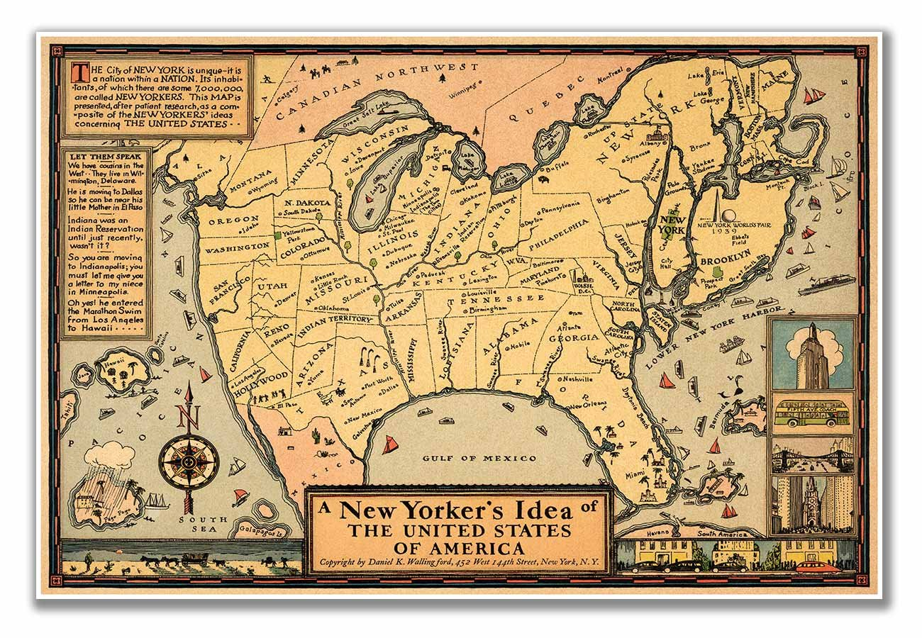 New Yorkers Map Of The World.Amazon Com Map Of A New Yorker S Idea Of The United States Of
