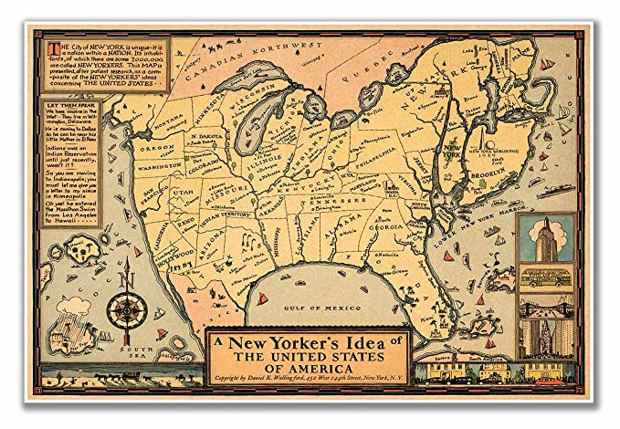 Us Map According To New Yorkers.Amazon Com Map Of A New Yorker S Idea Of The United States Of