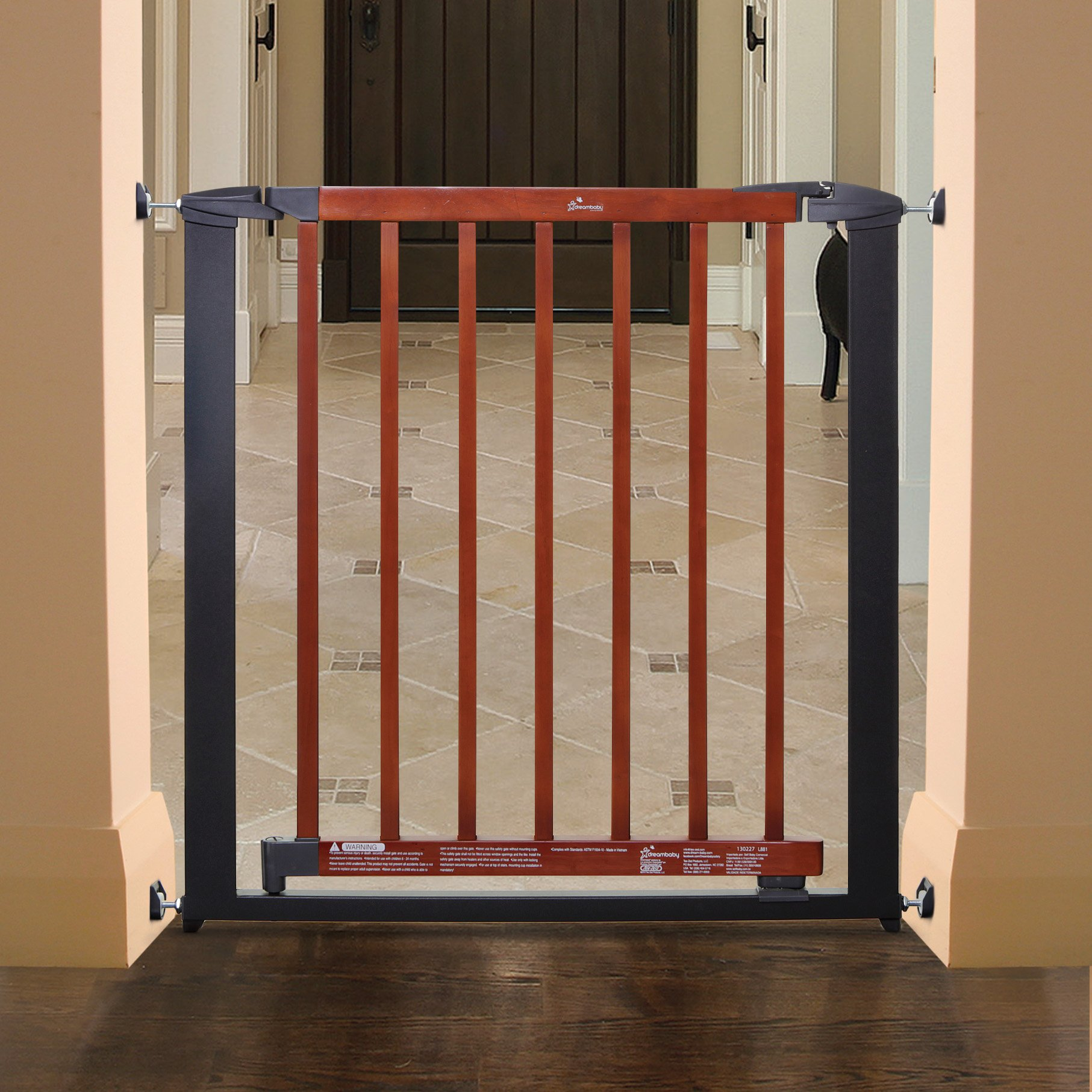 Dreambaby Windsor Auto Close Security Gate-Charcoal Metal/ Cherry Color Wood by Dream Baby