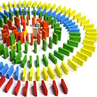 mtsugar 120pcs Wooden Dominos Building Blocks Set Game, Colorful Building & Stacking Educational Toy for Kids