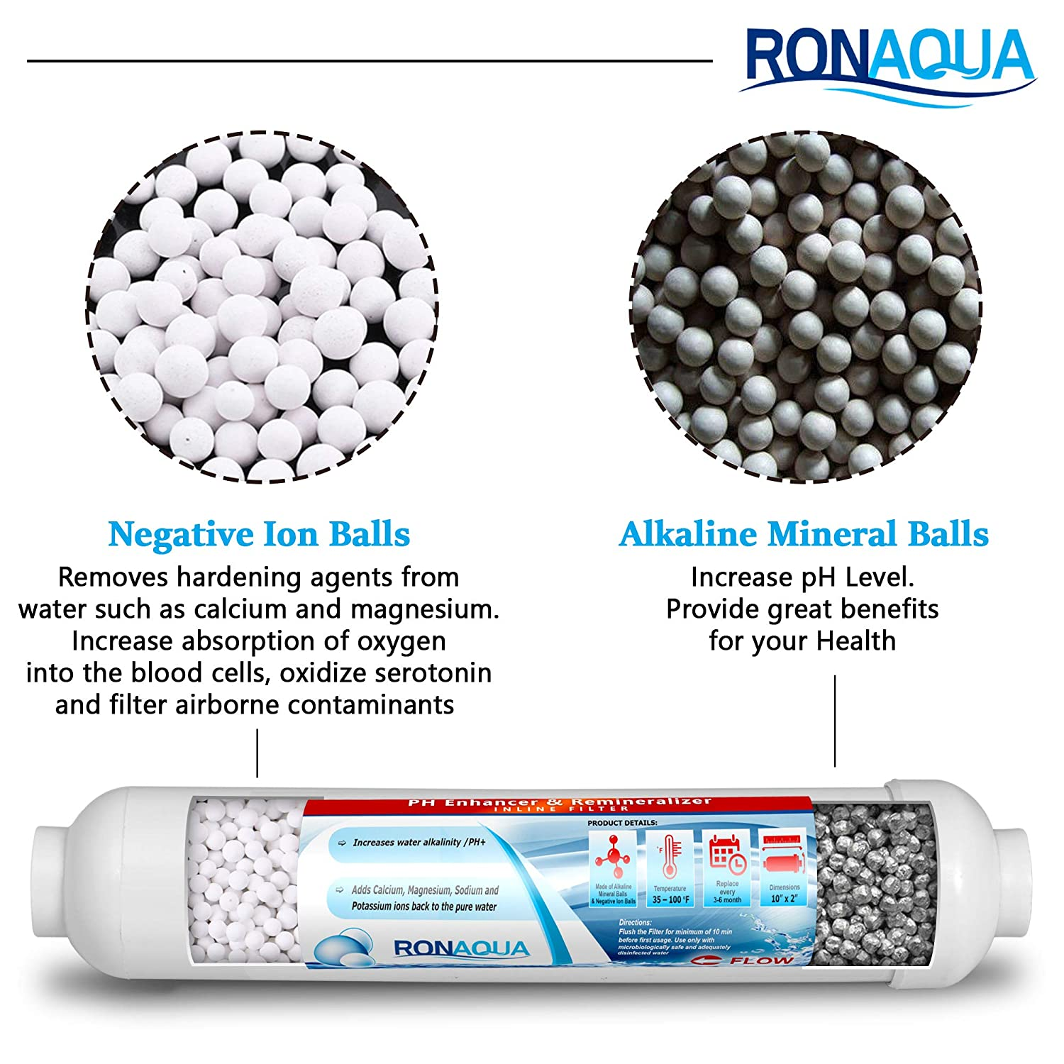 Set of 3 PH Enhancer and Re-Mineralizer Use Under Sink or Reverse Osmosis System Ronaqua Alkaline in-line Water Replacement Filter