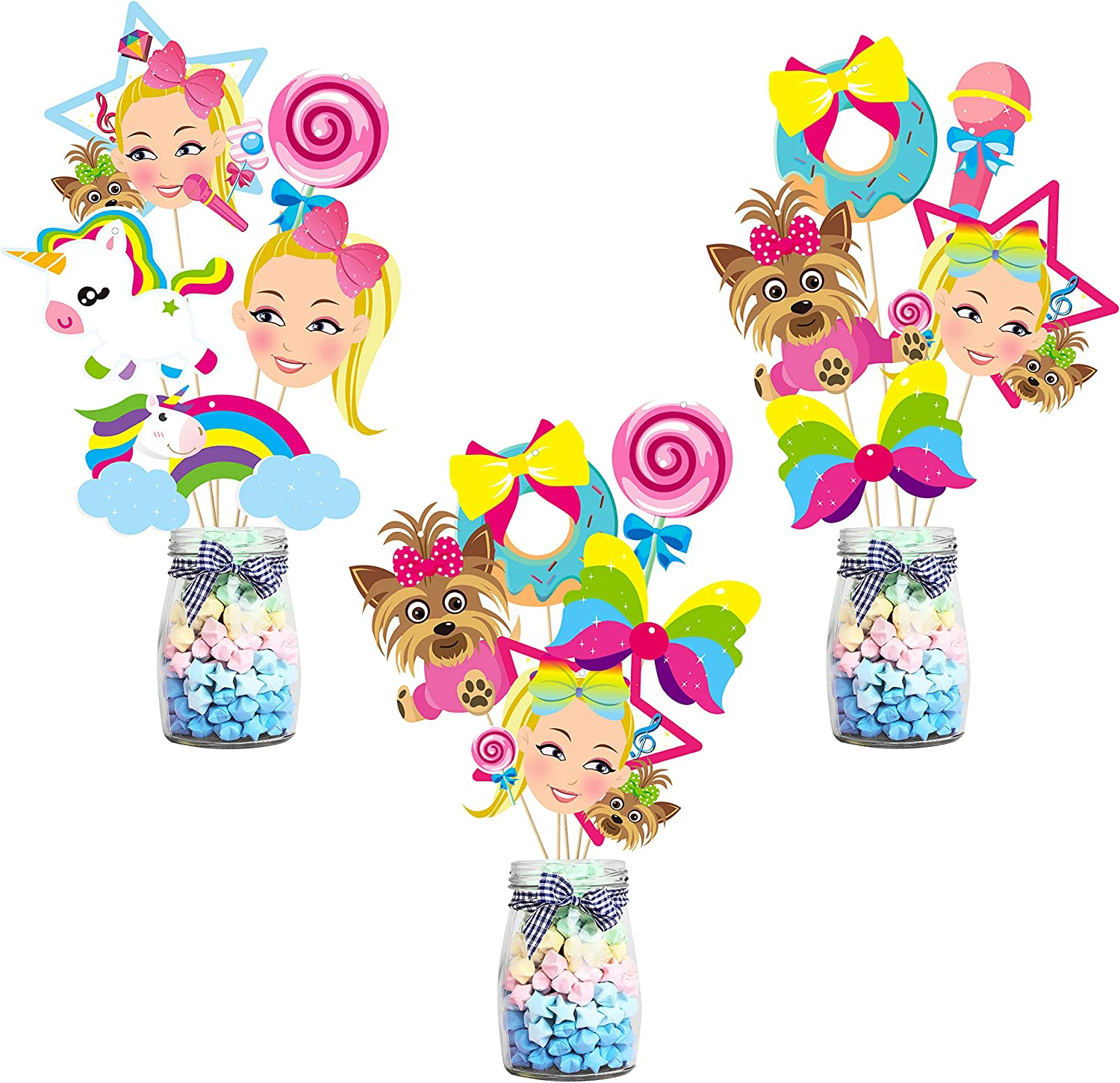 PANTIDE JoJo Party Decorations – 30 Pcs JoJo Centerpiece Sticks Table Toppers, Double Sided Cupcake Toppers Photo Booth Props - JoJo Themed Party Supplies Party Favors for Kids Birthday Baby Shower